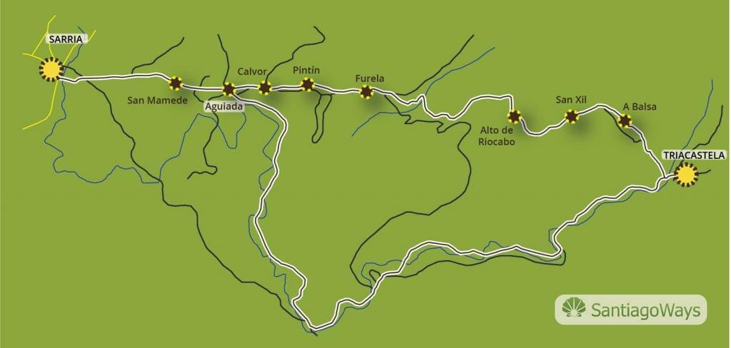 Mapa de Triacastela a Sarria