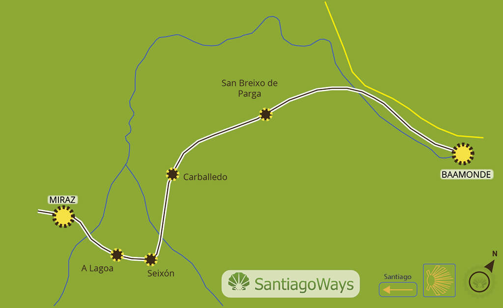 Mapa etapa de Baamonde a Miraz
