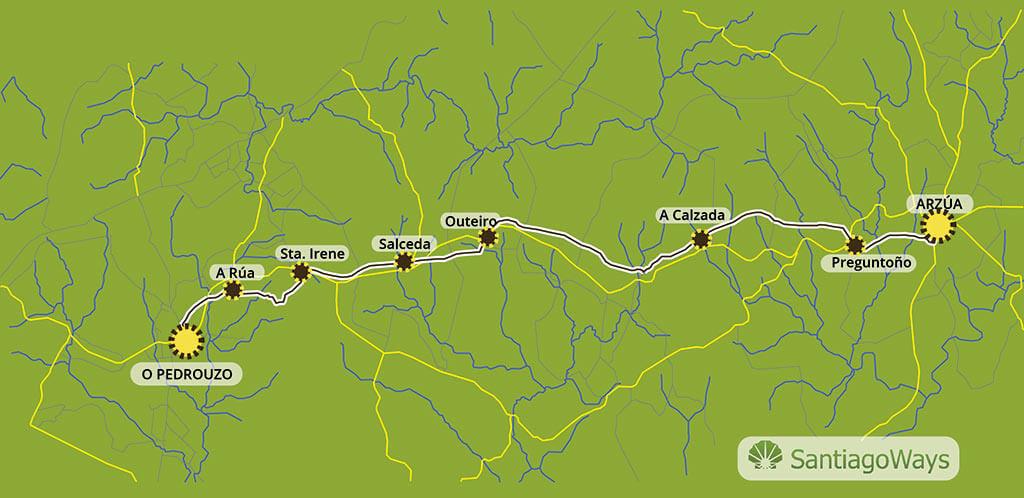Mapa etapa de Arzua a O Pedrouzo