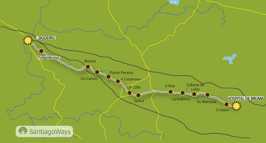 Mapa etapa de Bruma a Sigueiro