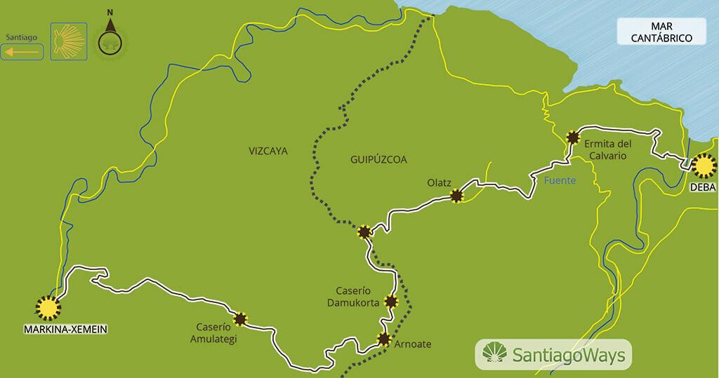 Mapa etapa de Deba a Markina