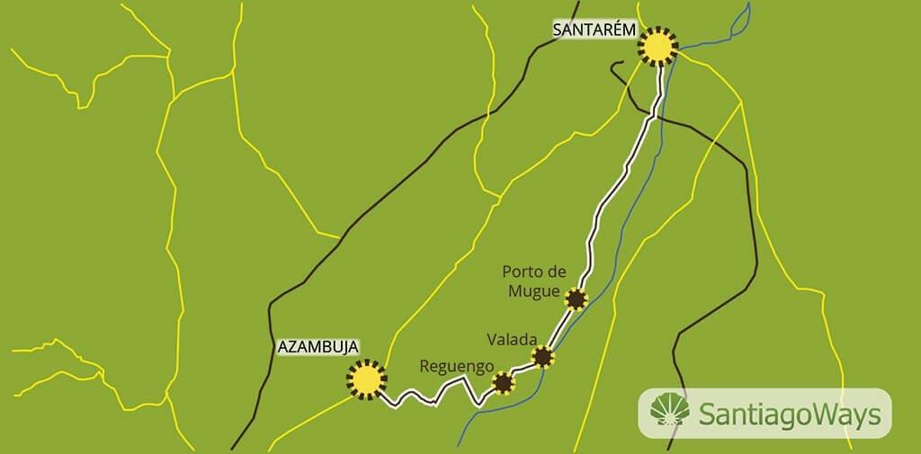 Mapa de Azambuja a Santarem