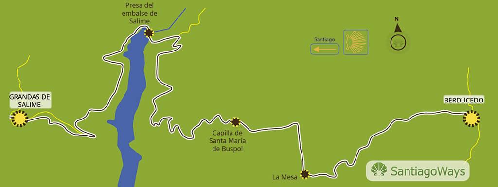 Mapa de Berducedo a Grandas de Salime