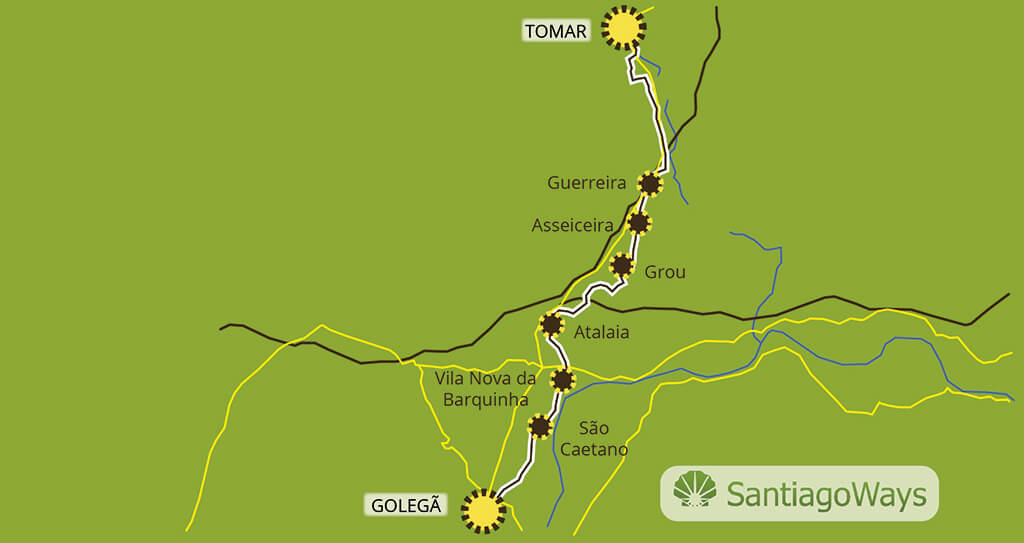 Mapa de Golega a Tomar