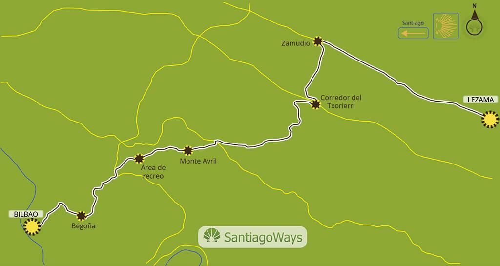 Mapa etapa de Lezama a Bilbao