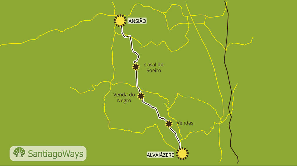 Mapa de Alvaiazere a Ansiao