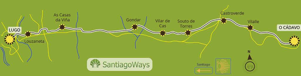 Mapa de O Cadavo a Lugo