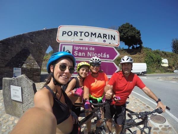 A pilgrim family doing the Camino de Santiago by bike