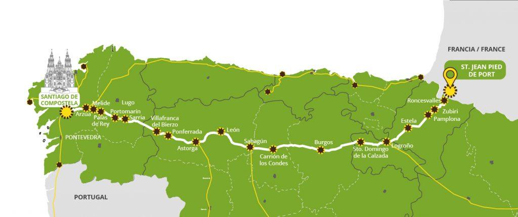 Mapa del Camino de Santiago Francés