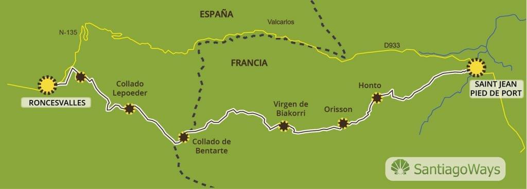 Mapa etapa St Jean Pied de Port - Roncesvalles