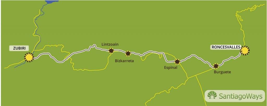 Mapa de Roncesvalles a Zubiri