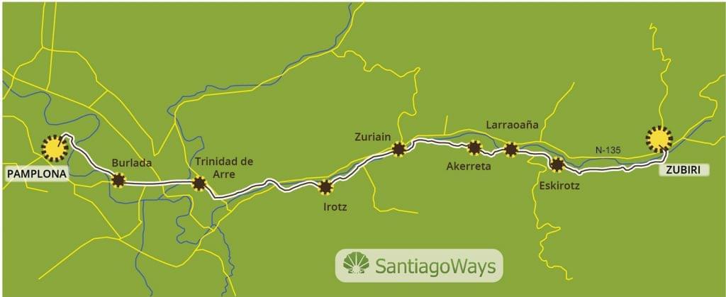 Mapa de Zubiri a Pamplona