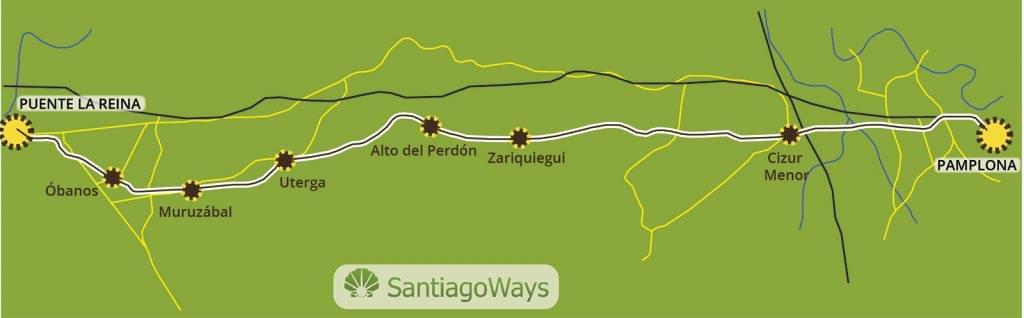 Mapa de Pamplona a Puente la Reina