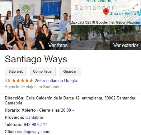 Santiago Ways Google Reviews