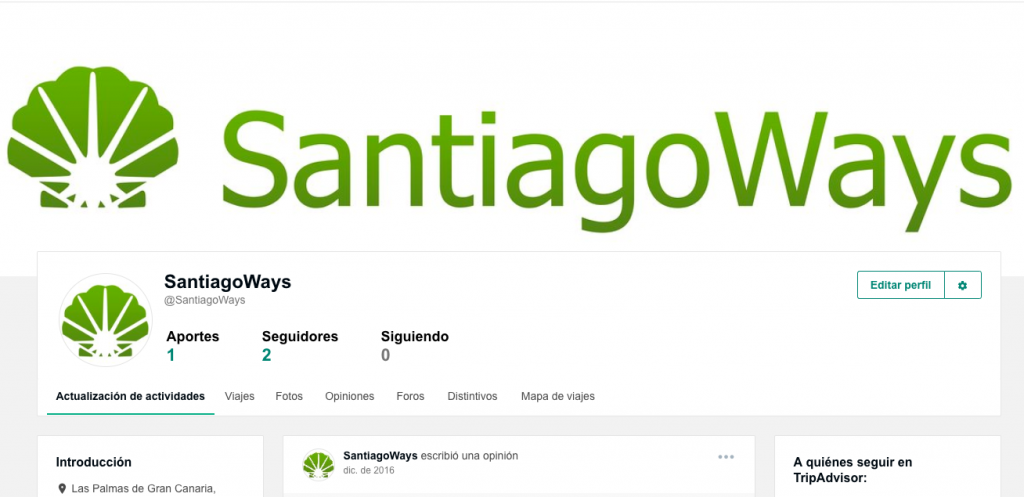 Profile Santiago Ways in TripAdvisor