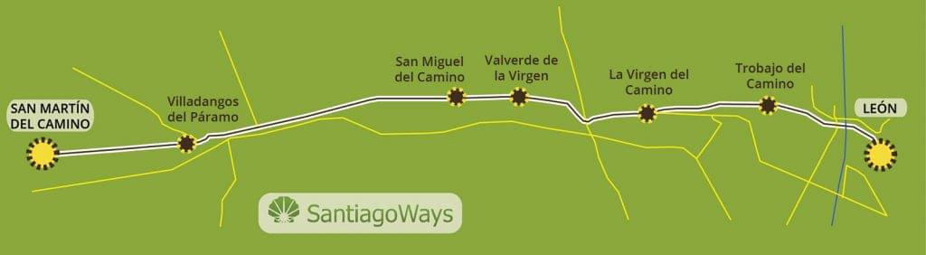 Map from Leon to San Martin del Camino