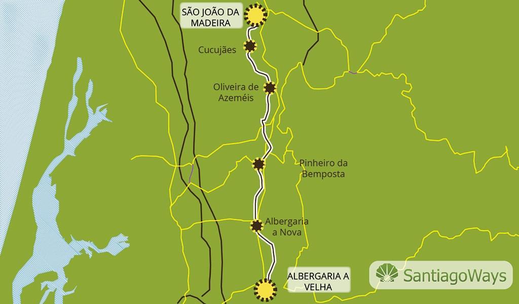 Mapa Albergaria a Velha a Sao Joao da Madeira