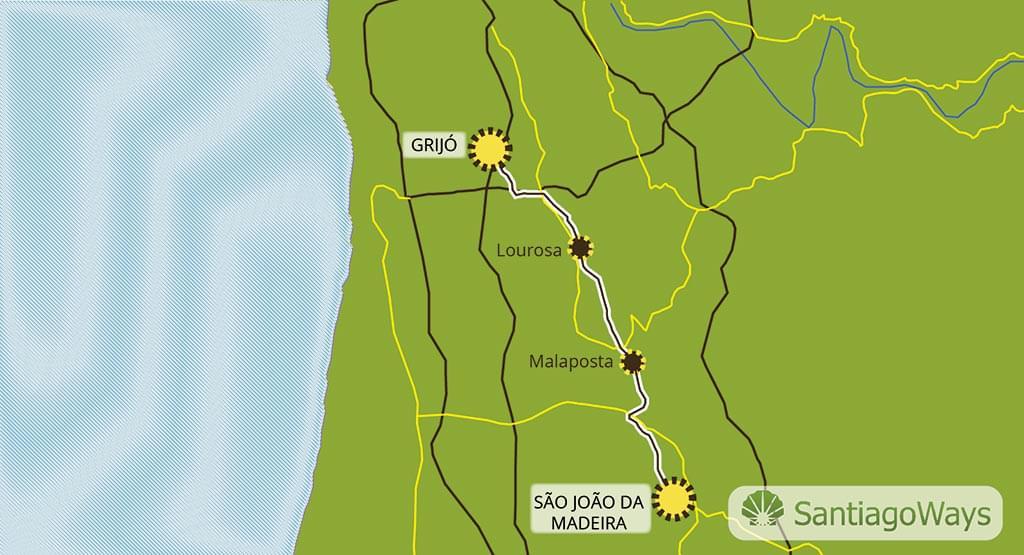 Mapa Sao Joao da Madeira a Grijo