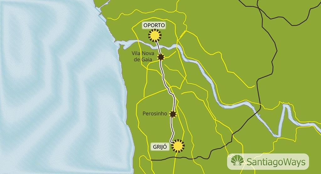 Mapa Grijo a Oporto
