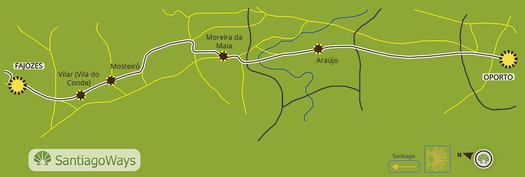 Mapa etapa de Oporto a Fajozes
