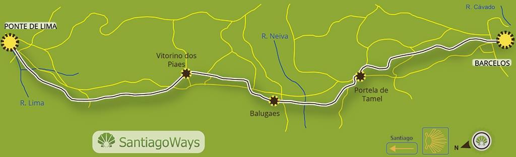Mapa etapa de Barcelos a Ponte da Lima