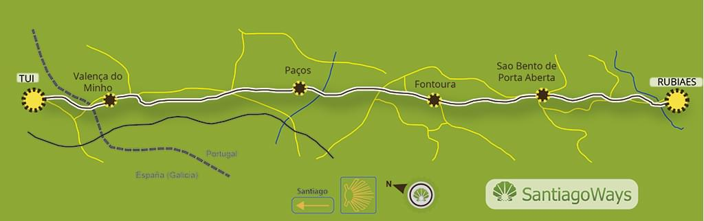 Mapa etapa de Rubiaes a Tui