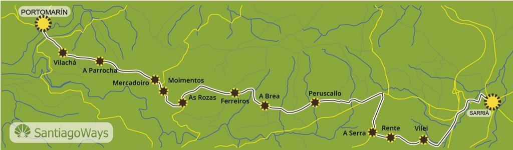 Mapa de Sarria a Portomarin