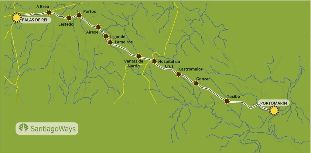 Mapa de Portomarin a Palas de Rei