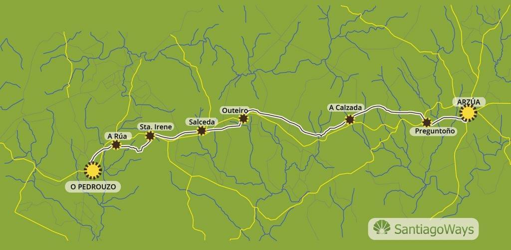 Mapa de Arzua a O Pedrouzo