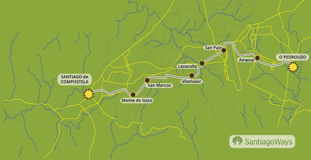 Mapa de O Pedrouzo a Santiago de Compostela
