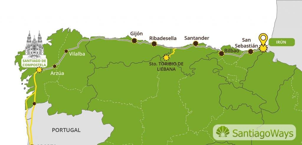 Mapa del Camino de Norte