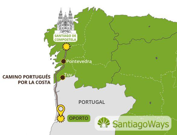 Mapa del Camino Portugués por la Costa