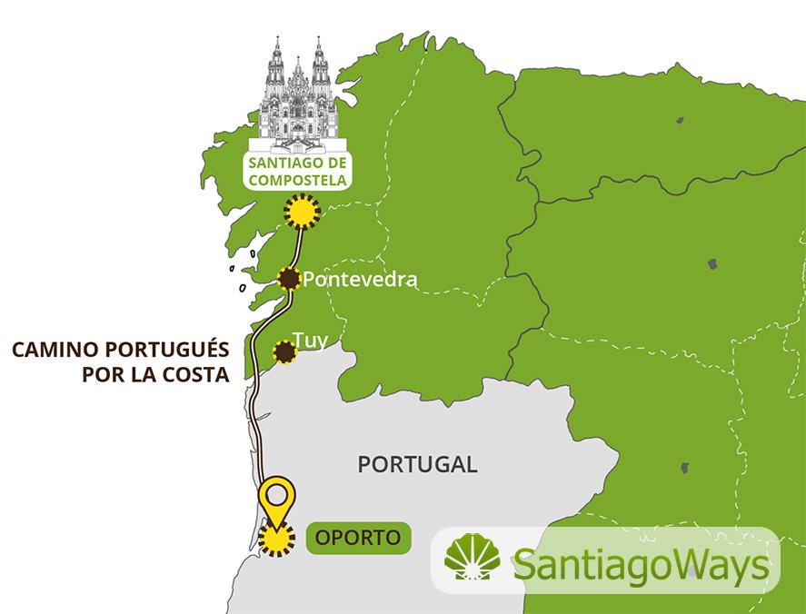 Mapa del Camino Portugues por la costa