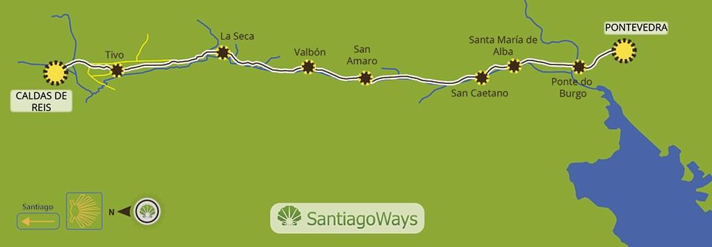 Mapa de Pontevedra a Caldas de Reis