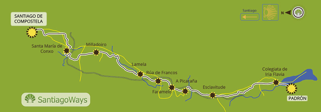 Mapa de Padron a Santiago de Compostela