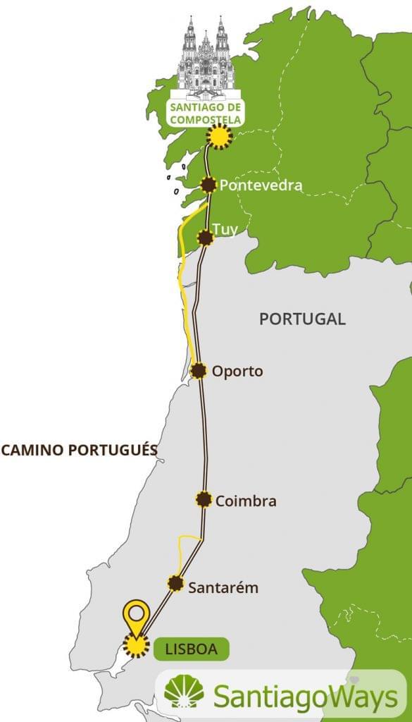 Mapa del Camino portugues