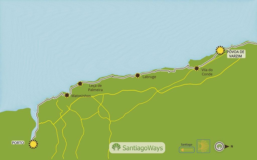 Mapa Oporto a Povoa de Varzim