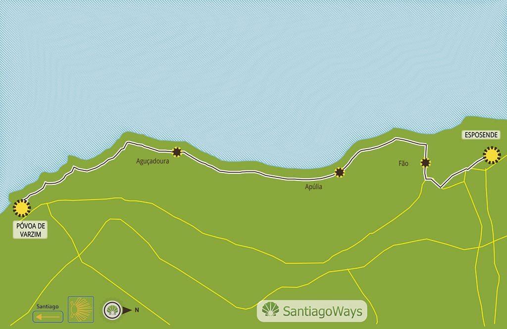 Mapa Povoa de Varzim a Esposende