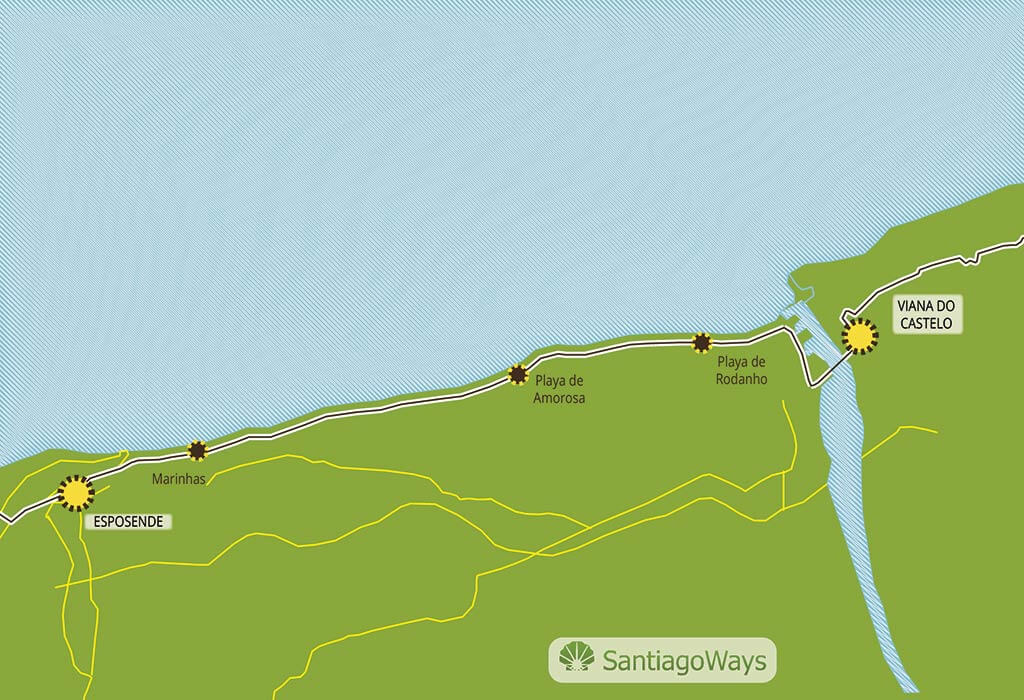 Mapa de Esposende a Viana do Castelo
