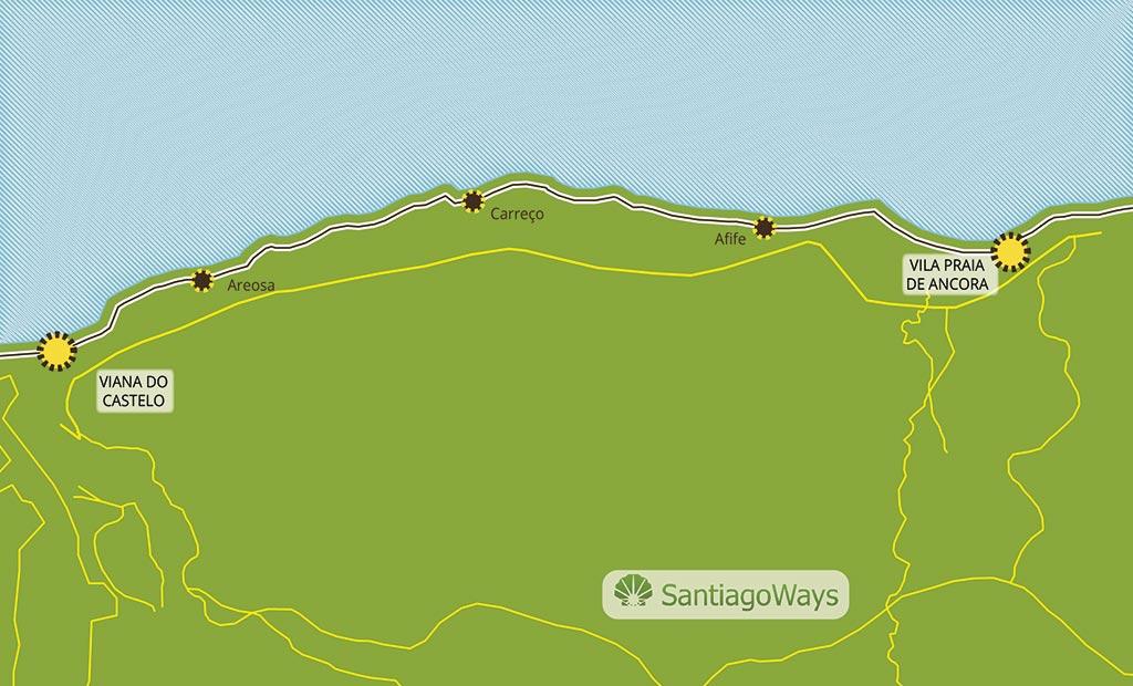 Mapa de Viana do Castelo a Ancora