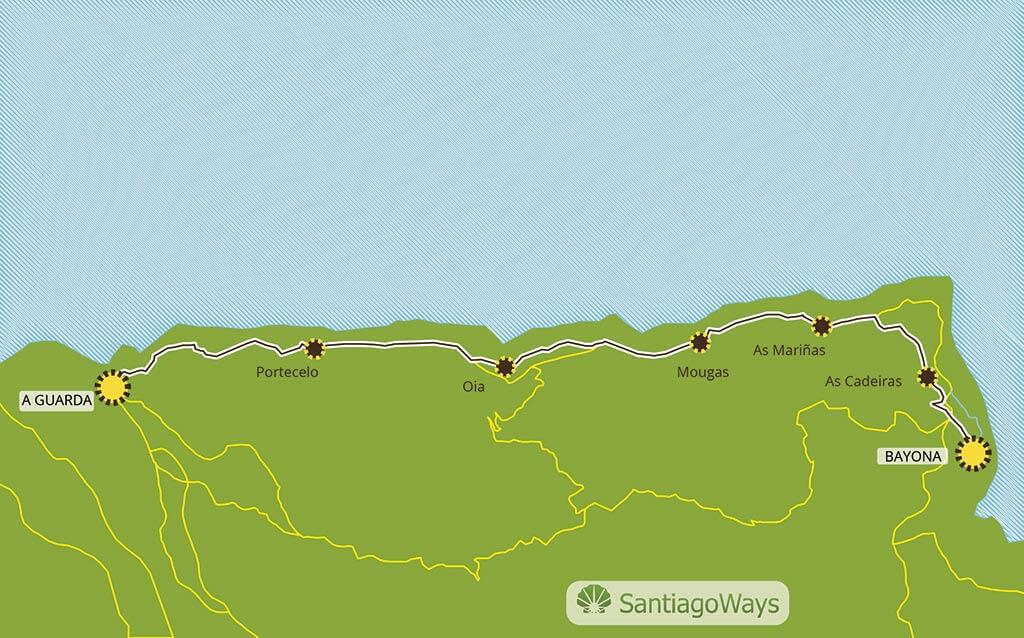 Mapa de Guarda a Baiona
