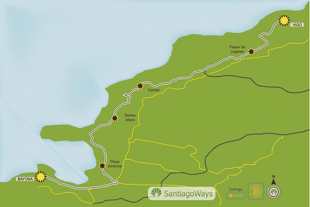 Mapa de Baiona a Vigo