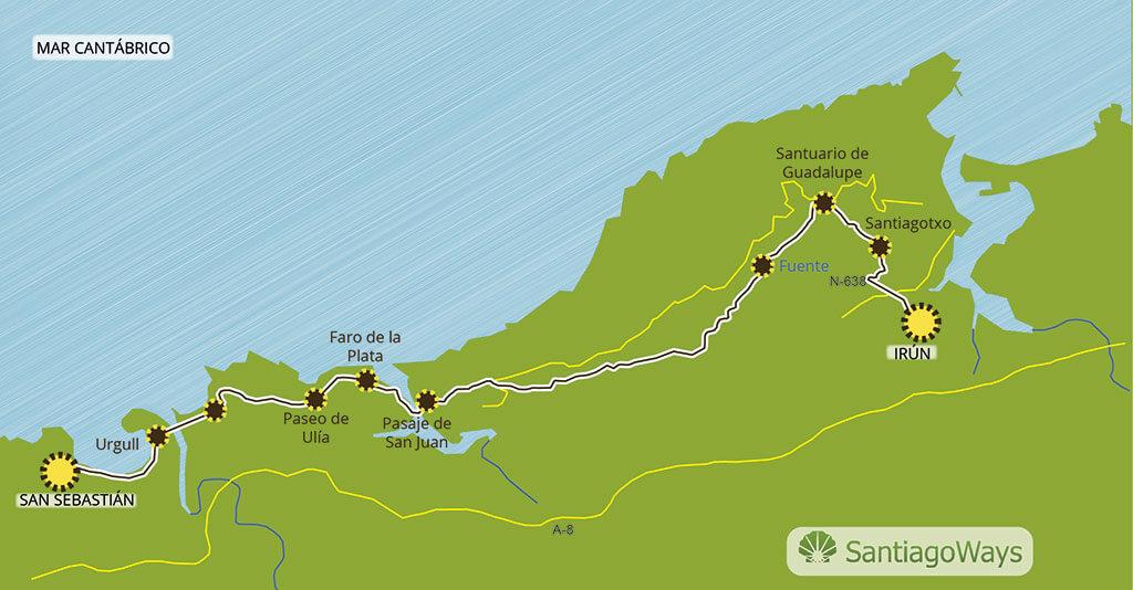 Mapa de Irun a San Sebastian