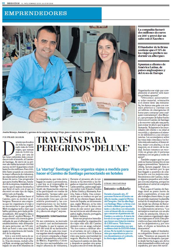 Artikel uber Santiago Ways in der Tageszeitung El Pais Juli 2018.
