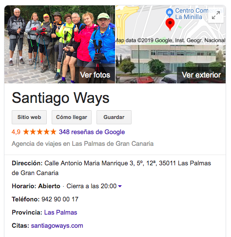 Google Reviews about Santiago Ways