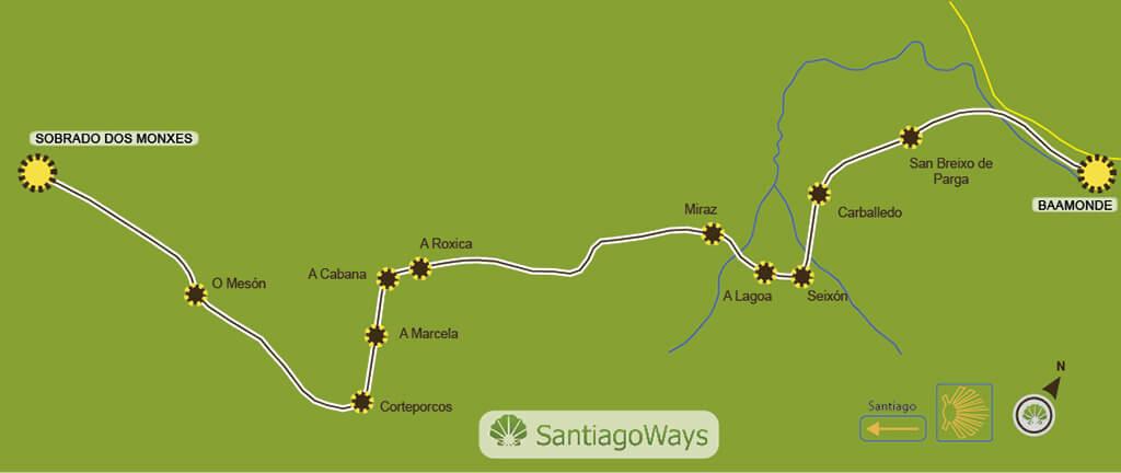 Karte abschnitt Baamonde - Sobrado