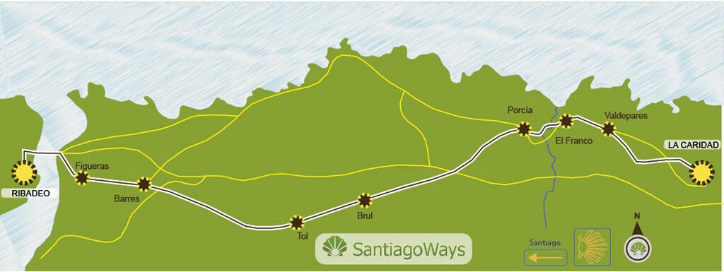 Karte von La Caridad nach Ribadeo