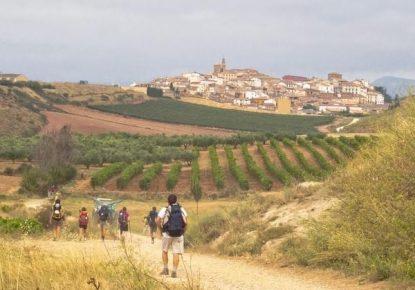 Pilgrims walking to Santiago