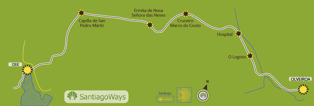 Karte abschnitt Olveiroa - Cee