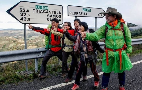 Photography of visiting pilgrims on the Camino de Santiago